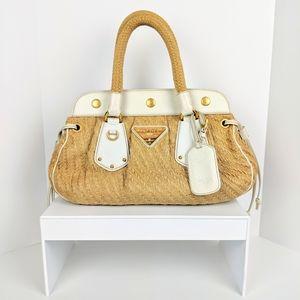 Authentic Prada Woven Raffia Handbag!